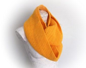 Yellow infinity cowl scarf neckwarmer -Handmade Crochet Scarf - Yellow Crochet Scarf
