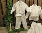 Ivory ring bearer outfit.Boys linen suit.Boys linen baptism suit.Toddler boy formal wear.Ivory boys wedding suit.