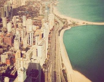 Chicago art, fine art photography, Illinois photograph, landscape, turquoise, dreamy, Chicago picture - Windy City