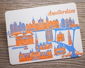 Amsterdam - Letterpress postcard - Printing on Cotton Paper
