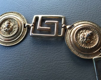 GREEK KEY BELT with Lion Head Accents Metal Chain Belt Mid Century Fashion Hollywood Regency Accesories at Ageless Alchemy