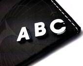 Alphabet Slide Letters, 8mm Initial Slide Letters - Smooth Silver Slider Charm