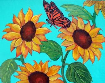 "Sunflower Monarch Butterfly Art - ""Sunflower Awakening"" - Painting by Lorraine Skala"