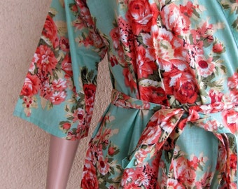 Mint Green Bridesmaid Robe/ Getting Ready Dress/ Mint with Red and pink Flowers/ Mix and Match Floral Kimono Robes - Color Code - C-15