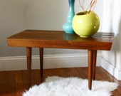 Vintage Danish Style Slat Teak Walnut Side Table/Bench
