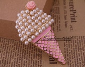 1PCS Bling Pink Pearls ice-cream Alloy Jewelry accessories materials supplies