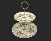 Betson's Moss Rose 2 Tier Serving Tray, Hand Painted Double Tiered Cake Stand, Made in Japan, Pink Roses 24K Gold Cupcake Display