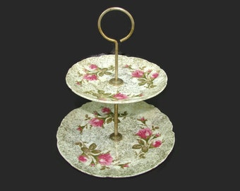 Betson's Moss Rose 2 Tier Serving Tray, Hand Painted Double Tiered Cake Stand, Pink Roses 24K Gold