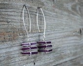 Modern earrings - ceramic jewelry, geometric cubes, purple and white