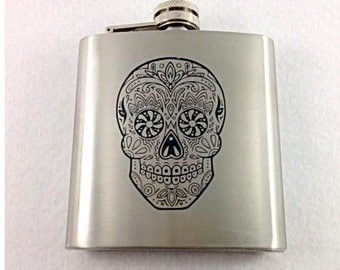 Sugar Skull Candy Designed Stainless Steel 6oz Flask