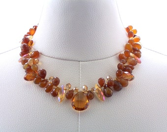Necklace Golden Topaz Swarovski Crystal Chalcedony Brown Beaded Gold Brass Statement Jewelry Luxury Jewellery Fashion Jewelry Colorful