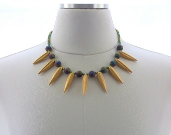 Metal Spike Necklace, Matte Gold, Druzy Necklace, Gemstone, Fashion Jewelry, Purple, Green, Blue, Iridescent, Modern Jewelry, On Trend