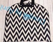 Black Chevron Garment Bag-  Luggage Tote - Monogrammed - Wedding/Honeymoon
