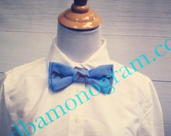 Derby Horse Bow Tie, Monogram Tie, Monogram Bowtie, Monogram Boys  Wear, Preppy Monogram Tie