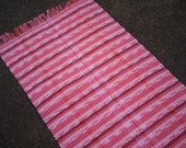 Clearance Rag Rug Patterned Pink, Burgundy, White