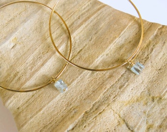 Hammered Gold Hoops with Aquamarine Cubes