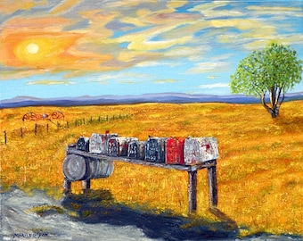 Rural Route, quality limited edition giclee print on canvas of Original oil painting by Marilu, Mail Boxes country road