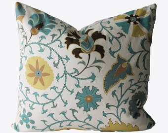 Decorative Designer Lacefield Calypso Citron, Jacobean floral pillow cover,  18x18, 20x20, 22x22 or Lumbar Throw Pillow