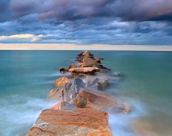 Beach Jetty Photo, Nantucket Wall Art, Large Photography Print, Seascape Photograph, Oversized Artwork, Coastal Beach Decor Blue Purple Teal