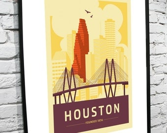 """Houston, Texas Skyline 11""""x17"""" Poster"""