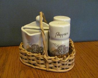 Tree Cream Sugar Salt and Pepper Set in Basket Fall Colors