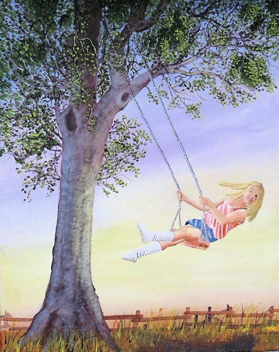 Landscape Painting of a Girl on a Swing from a Tree