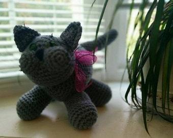 Crocheted CAT - grey (Russian 'Blue')