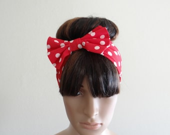 Red And White Polka Dot Headband. Bow Head Wrap