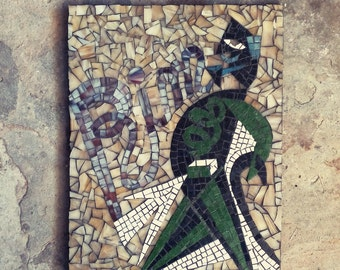 green, brown glass mosaic / wall art / vintage poster / made in italy / futurisme Depero inspired