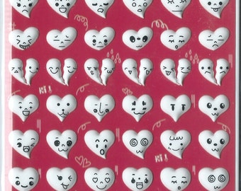 Japanese/ Korean Puffy Glow in Dark Stickers - Heartful Emotions