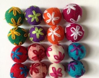 2 pcs Embroidered Felt Balls (Pick the Colors)