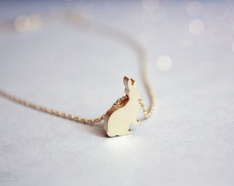 tiny bunny necklace - cute, dainty, minimalist gold jewelry / gift for her