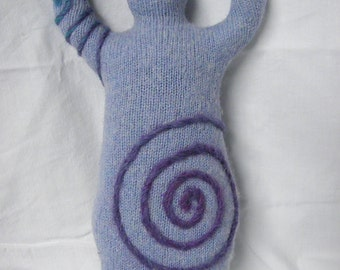 Blue with Purple Varigated Spiral~ Wool Goddess Doll Medium