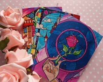 Set of 3 - Note Cards - Rose Window