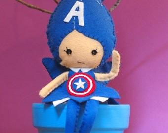 Avengers Captain America Inspired Felt Fairy