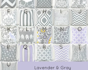 Gray & Purple Pillow Cover - 18x18 - Mix/Match lavender grey white throw cushion euro sham bold decorative custom nursery Premier Prints