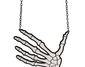 Skeleton Hand necklace - laser cut acrylic
