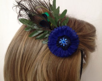 Luxe Blue Floral & Peacock Feather Hair Accessory