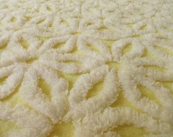 "Yellow Hofmann Daisy  Vintage Chenille Bedspread Fabric Piece...14 x 24"""