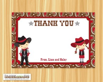 Cowboy and Cowgirl Thank You Card | Cowboy Thank You Card | Cowgirl Thank You Card | Cowboy and Cowgirl Party