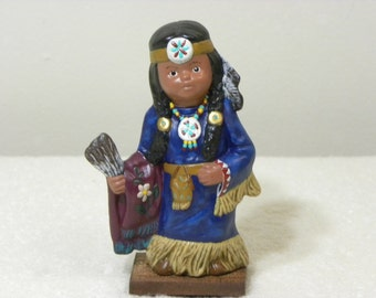 """Native American, Indian, Girl, Kid, Child has Feathers & Colorful Beads, July's Calendar Kid, Birthday, Gift, Ceramic, Statue, 4.5"""" Tall"""