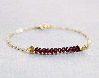 Garnet and Gold Bracelet - January Birthstone Bracelet - Garnet Bracelet