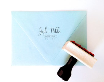 """Custom """"Modern Calligraphy"""" Return Address Stamp - Gifts, Invitations, Housewarming, Wedding - Wood Mounted with Handle OR Self-Inking"""