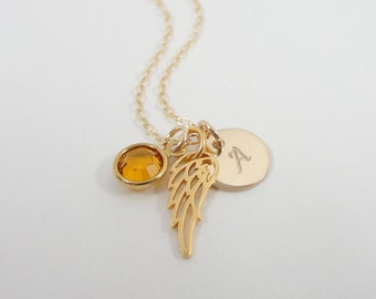 Gold Filled Angel Wing Necklace - Choose Your Crystal Color - Birthstone necklace - Hand Stamped Initial Necklace