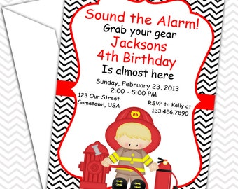Fire Fighter Invitations PRINTABLE - Birthday Party - Baby Shower - Painting