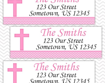 Pink Cross Baptism Christening First Holy Communion  - Personalized Address labels, Stickers