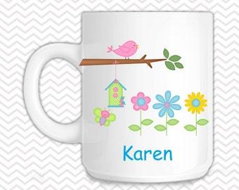 Flowers Kids Mug - Personalized Flower Mug - Customized Mug - Melamine Cup - Personalized Kids cup