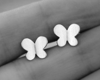 Tiny butterfly earrings, sterling silver, stud earrings, butterfly back earrings