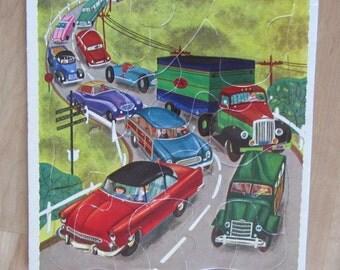 vintage PLAYSCHOOL PUZZLE cardboard CARS transportation midcentury automobile travel ephemera kids