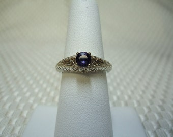Round Cut Iolite Ring in Sterling Silver